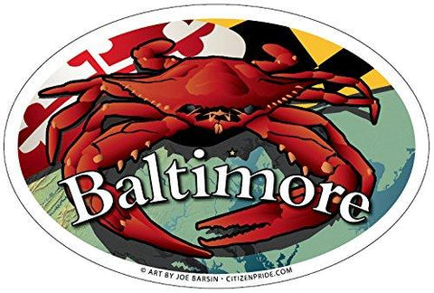Baltimore Maryland Red Crab Oval Magnet, 6x4