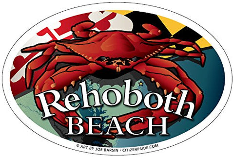 Rehoboth Beach Red Crab Oval Magnet, 6x4