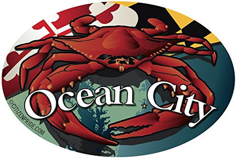 Ocean City Red Maryland Crab Oval Window Decal, 6x4