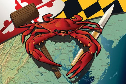 Maryland Red Crab w/ Tools Art Print by Joe Barsin, 16x12