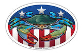 Blue Crab USA Oval Magnet, 6x4