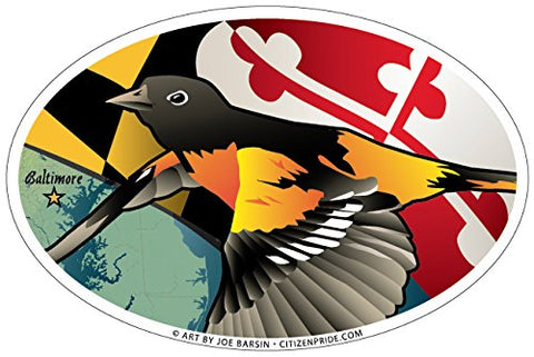 Maryland Oriole Oval Sticker, 6x4