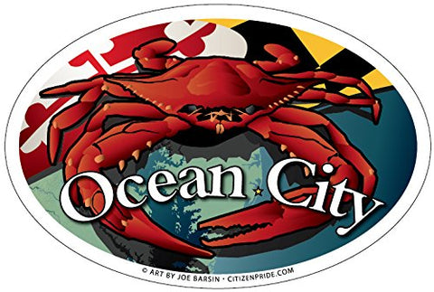 Ocean City Maryland Red Crab Oval Magnet, 6x4