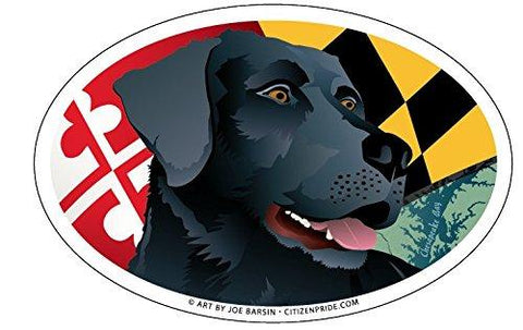 Maryland Black Lab Oval Magnet, 6x4
