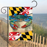 Display of Maryland Blue Crab Garden Flag by Joe Barsin