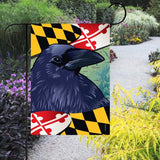 Display of Maryland Raven Garden Flag by Joe Barsin