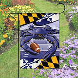 Display of Ravens Sports Crab of Baltimore Garden Flag by Joe Barsin