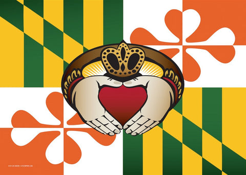 Maryland Irish Claddagh Large House Flag by Joe Barsin, 28x40