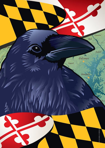 Maryland Raven Large House Flag by Joe Barsin, 28x40