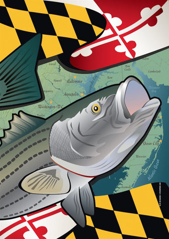 Maryland Rockfish Large House Flag by Joe Barsin, 28x40