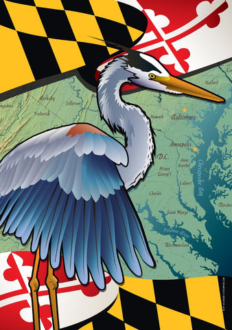 Maryland Blue Heron Coastal House Flag by Joe Barsin, 28x40