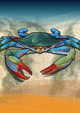 Coastal Blue Crab Garden Flag by Joe Barsin, 12x18