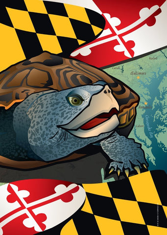 Maryland Terrapin Large House Flag by Joe Barsin, 28x40
