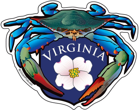 Blue Crab Virginia Dogwood Crest Sticker, 5x4