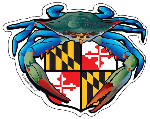 Blue Crab Maryland Crest Sticker,  5x4
