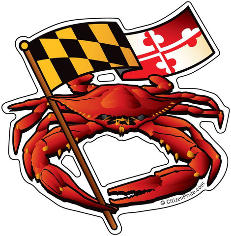 Red Crab Maryland Banner Sticker, 4.5x4.5