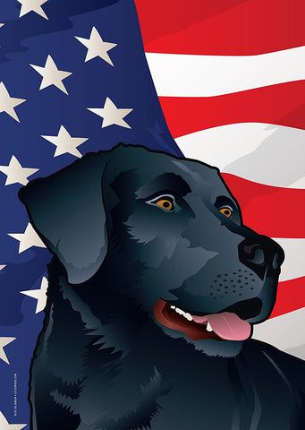 USA Black Lab Garden Flag by Joe Barsin, 12x18