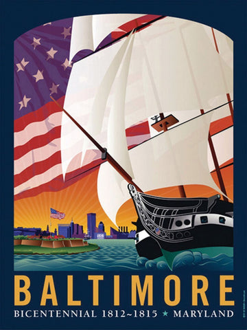 Baltimore: By The Dawn's Early Light Art Print by Joe Barsin, 18x24