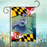 Display of Maryland Blue Heron Coastal Garden Flag by Joe Barsin