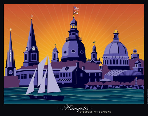 Annapolis Steeples and Cupolas: Sunset Art Print by Joe Barsin, 24x18