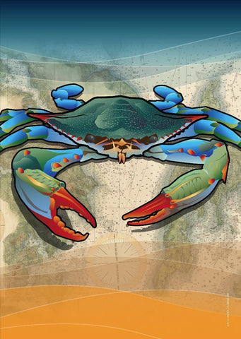 Coastal Blue Crab Large House Flag by Joe Barsin, 28x40