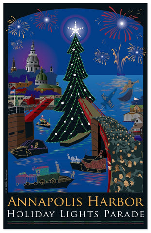 Annapolis Holiday Lights Parade Art Print by Joe Barsin, 11x17