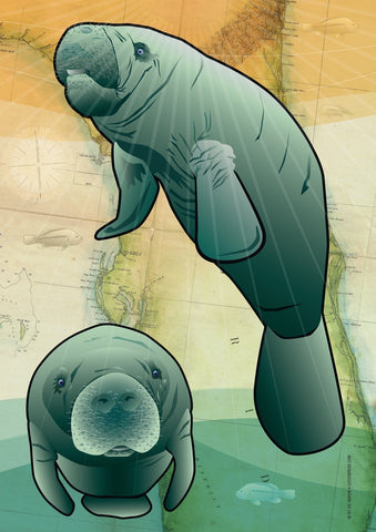 Coastal Manatee of Florida House Flag by Joe Barsin, 28x40
