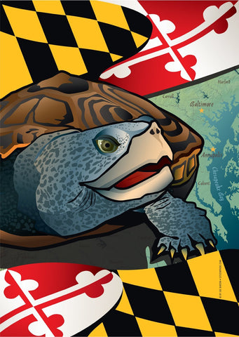 Maryland Terrapin Garden Flag by Joe Barsin, 12x18
