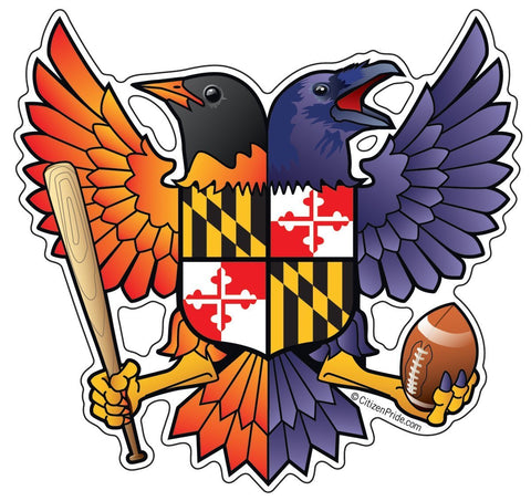 Birdland Baltimore Raven and Oriole Maryland Shield Sticker, 5x4.75