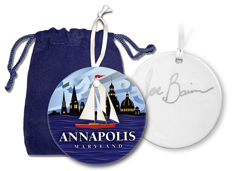 Red Sailboat Annapolis MD Coastal Ornament with gift bag by Joe Barsin, 2.5x2.5