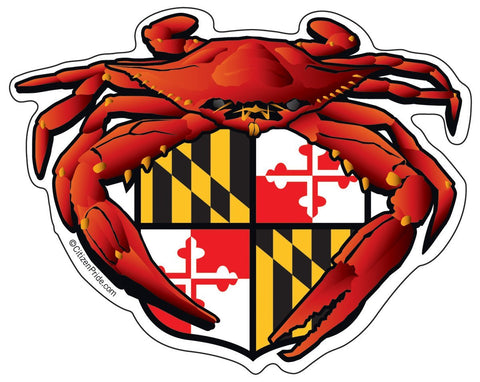 Red Crab Maryland Crest Sticker, 5x4