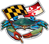 Blue Crab Maryland Banner Sticker, 5x4.5