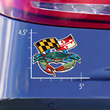 Measurements of Blue Crab Maryland Banner Sticker