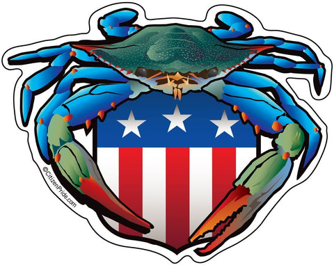 Blue Crab USA Crest Sticker, 5x4