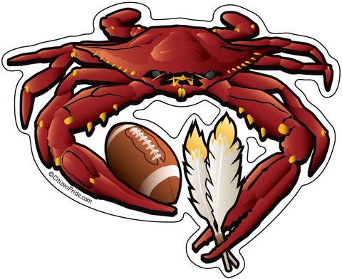 Washington Redskin Crab Football Sticker, 5x4