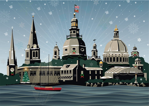 Snowy Annapolis Holiday Card Pack of 10, Art by Joe Barsin