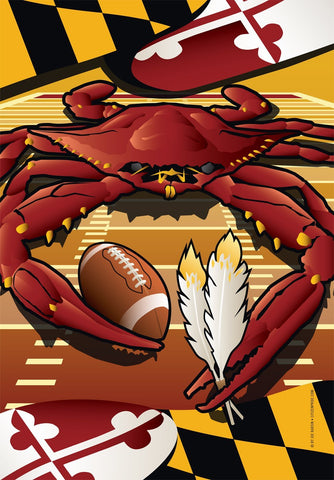 Redskins Sports Crab of Washington House Flag by Joe Barsin, 28x40