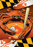 Orioles Sports Crab of Baltimore Garden Flag by Joe Barsin, 12x18