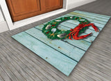 Display of Coastal Holiday Crab Wreath Door Mat by Joe Barsin