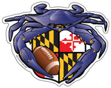 Raven Crab Football Maryland Crest, Large Decal