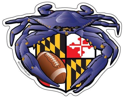 "Raven Crab Football Maryland Crest, Large Decal, die cut vinyl, 12"" to 24"" wide"