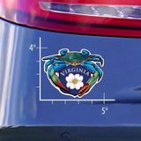 Measurements of Blue Crab Virginia Dogwood Crest Sticker
