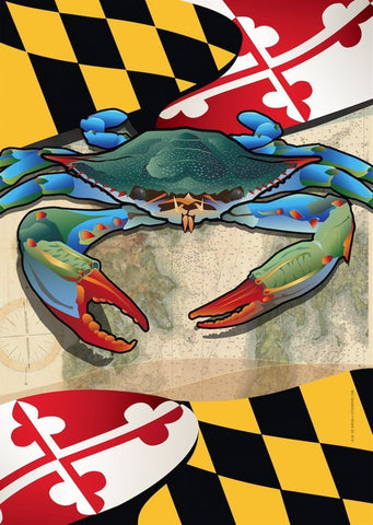 Maryland Blue Crab Large House Flag by Joe Barsin, 28x40