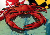 Maryland Red Crab Card Pack of 10, Art by Joe Barsin