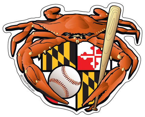 Oriole Baseball Crab Maryland Crest Sticker, 5x4