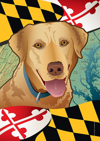 Maryland Yellow Lab Large House Flag by Joe Barsin, 28x40