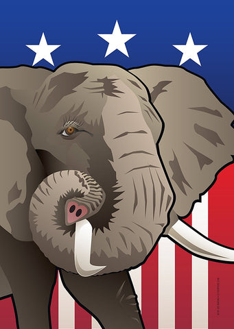 USA Elephant Garden Flag by Joe Barsin, 12x18