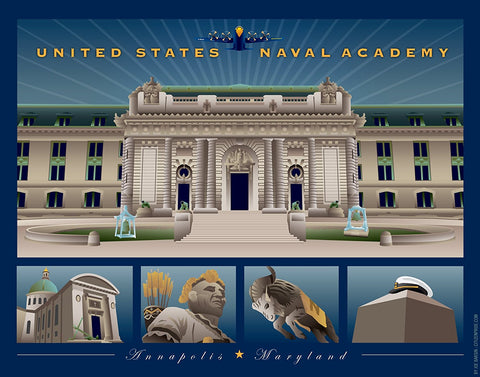 US Naval Academy Monuments Annapolis Art Print by Joe Barsin, 14x11