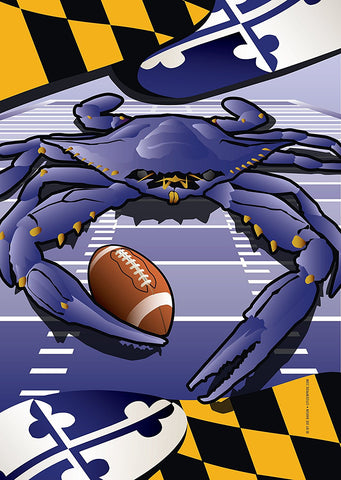 Ravens Sports Crab of Baltimore Garden Flag by Joe Barsin, 12x18