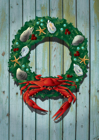 Coastal Holiday Crab Wreath Large House Flag by Joe Barsin, 28x40